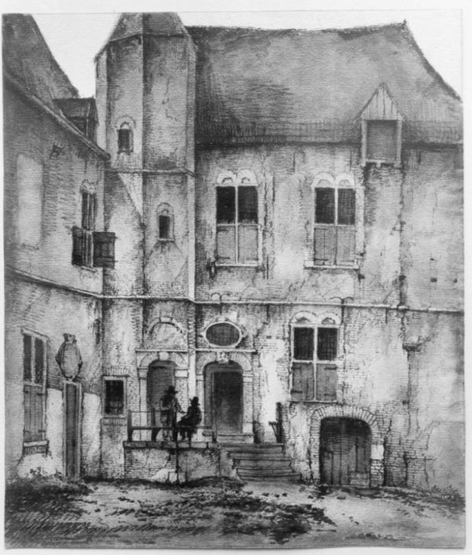 Huis Vorden: reproductie tekening gevel in bezit van Teyler Museum, Haarlem (CC BY-SA 4.0 - RCE - wiki)