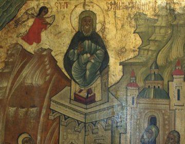 Simeon de Styliet (de Pilaarheilige) op een zestiende-eeuws icoon in het Historisch museum van Sanok, Polen (Publiek Domein - wiki)