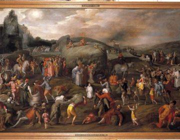 Gillis Mostaert, Hooiwagen. Tussen 1570 en 1579. Allegorie op de zeven hoofdzonden. Museum Catharijneconvent, Utrecht.