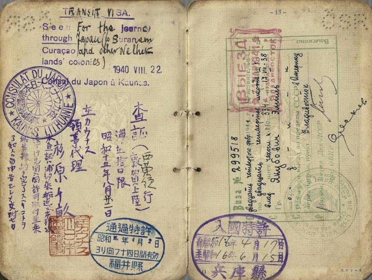 Transitvisum dat in 1940 werd uitgegeven door Chiune Sugihara (Publiek Domein - wiki)