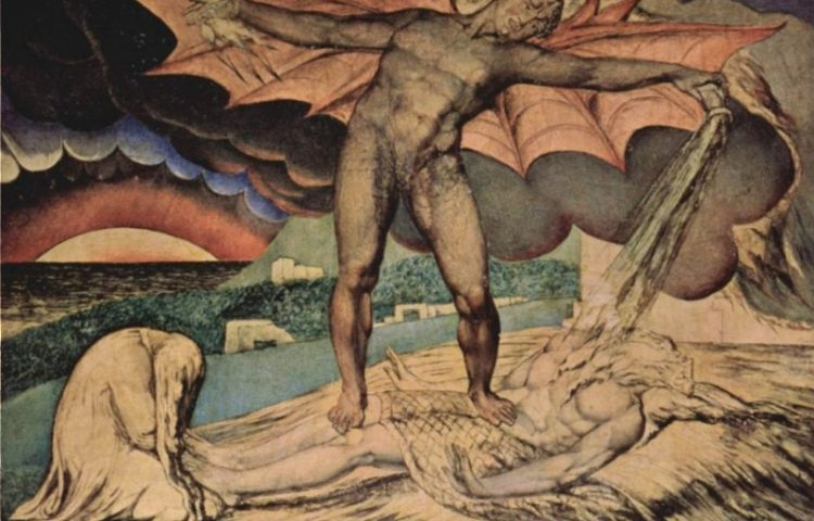 Jobstijding - William Blake, ca. 1826 - Tate Gallery Londen, Satan stort zijn plagen over Job uit