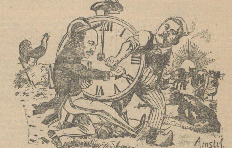 """Afbeelding uit de Delftsche courant van 20 februari 1924 - Onderschrift: """"Minister Ruys en de beroemde afgevaardigde Braat strijden voor en tegen den zomertijd"""" (Delpher)"""