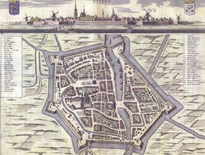 Oude kaart van Dokkum