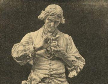 Parmentier bestudeert een aardappel - Tekening van Adrien Étienne Gaudez