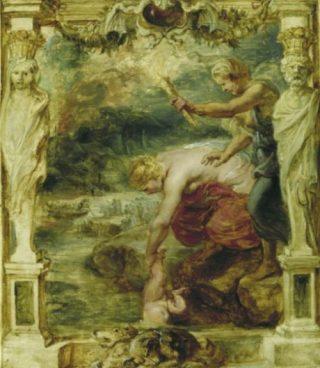 Schilderij van Rubens - De onderdompeling van Achilles in de rivier de Styx