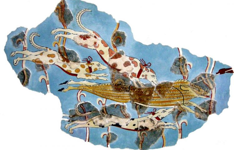 Fresco aangetroffen in een paleis in Tiryns (CC BY 2.5 - Sailko - wiki)