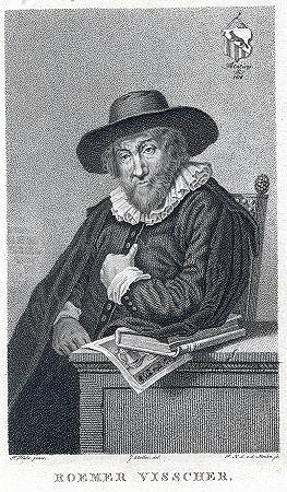 Fantasieportret van Roemer Visscher op oudere leeftijd gemaakt door Pieter van der Meulen (Rijksmuseum)