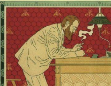 """Afbeelding """"Paul Hankar aan het werk"""", gemaakt door Adolphe Crespin in 1897"""