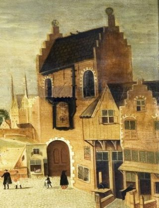 De Gevangenpoort - Detail van een schilderij uit circa 1555. (Publiek Domein - wiki)