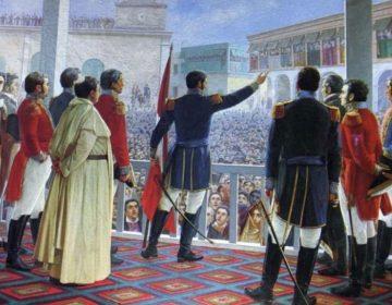 Volkslied van Peru - José de San Martín roept de onafhankelijkheid van Peru uit, Lima, 28 juli 1821.