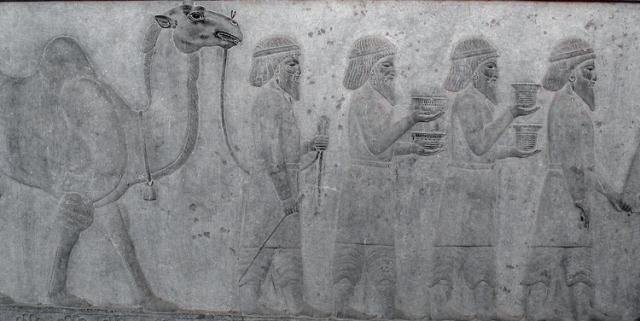 Baktriërs brengen tribuut aan de koning van Perzië (Oostelijke Apadana-trap, Persepolis)