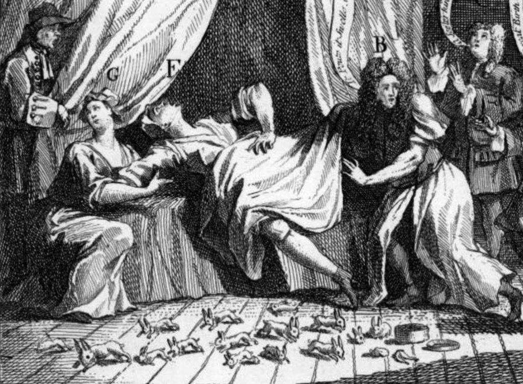 """Verbeelding van de """"wonderbaarlijke geschiedenis van Mary Toft"""" (Publiek Domein - William Hogarth - wiki)"""