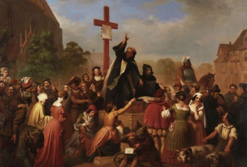 Aflaat - Broeder Johann Tetzel verkoopt aflaten (J.D.L. Franz Wagner, 19e-eeuws schilderij)