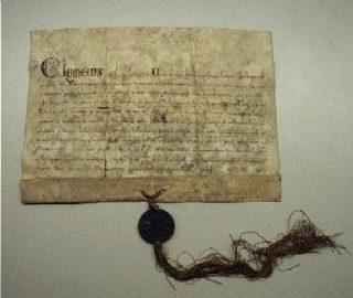 Pauselijke toestemming van Clemens IV in 1265 voor het verkopen van aflaten voor de bouw van de Dom in Utrecht (CC BY-SA 3.0 - Utrechts Archief wiki)
