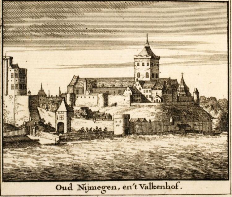 Oud Nijmegen, en 't Valkhof - Gravure uit 1714 (Publiek Domein - Bibliotheek Vredespaleis)