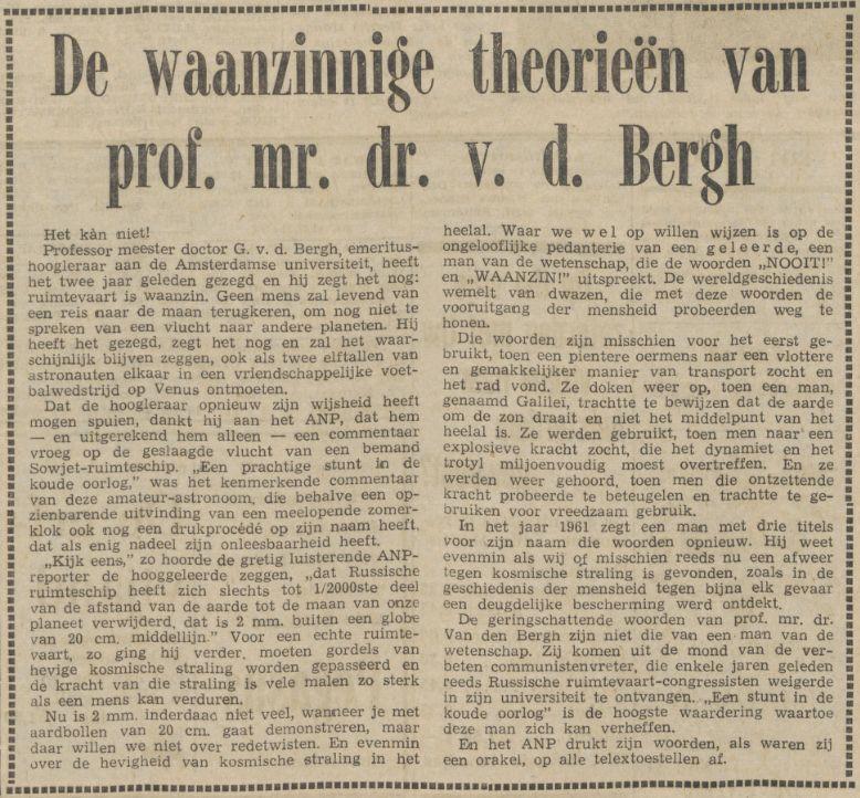 Artikel in De Waarheid van 13 april 1961 (Delpher)