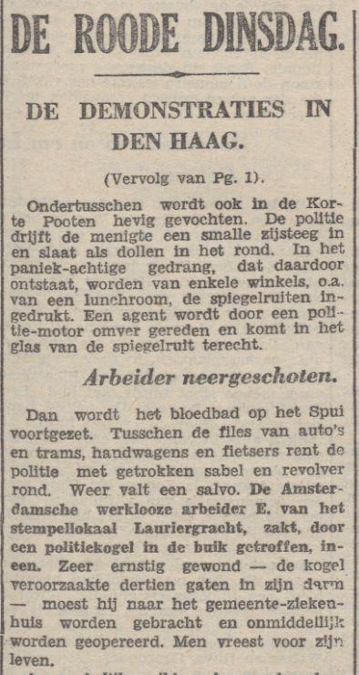 In het communistische dagblad De Tribune werd alleen melding gemaakt van slachtoffers onder de demonstranten (De Tribune, 21 september 1932) - Delpher