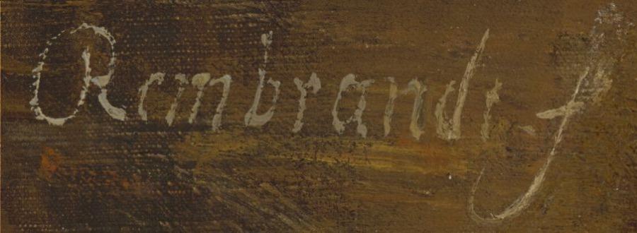 Handtekening van Rembrandt op zijn schilderij 'De apostel Paulus' (National Gallery of Art)