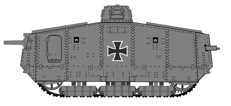 Dwarsdoorsnede van de A7V-tank