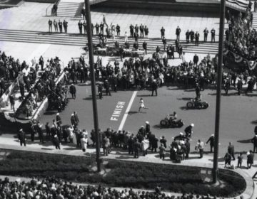 Finishlijn van de Boston Marathon in 1966 (CC BY 2.0 - City of Boston Archives - wiki)