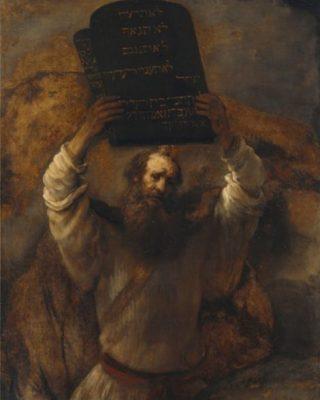 Mozes gooit de stenen tafelen met daarop de Tien Geboden stuk - Rembrandt, 1659 (Publiek Domein - Gemäldegalerie, Berlijn)