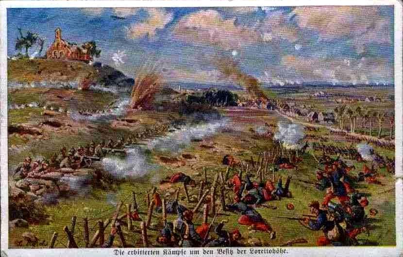 Oude postkaart met een verbeelding van de gevechten rond Notre Dame de Lorette (Publiek Domein - wiki)