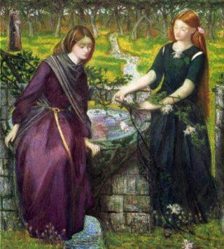 Rachel en Lea volgens Dante Gabriel Rossetti, 1855 (Publiek Domein - wiki)