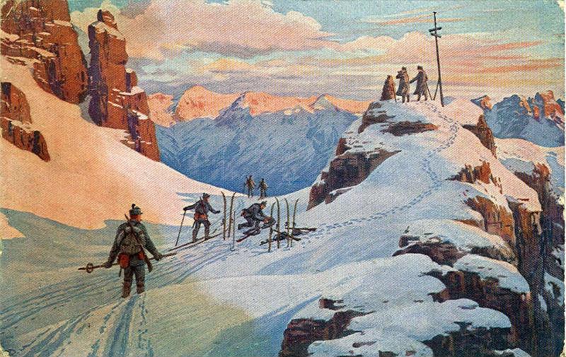 'Vechten voor Tirol', ansichtkaart uit 1916 (Publiek Domein - wiki)
