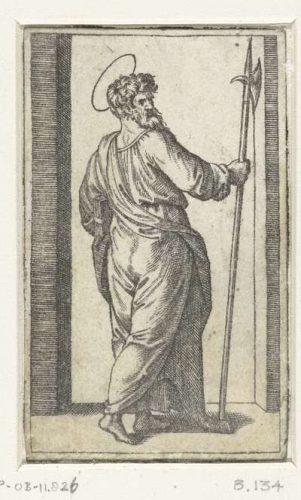 Apostel Judas Taddeüs met hellebaard (Publiek Domein - Europeana)