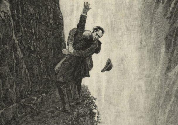 De dood van Sherlock Holmes – Tekening van Sidney Paget (Publiek Domein – wiki)