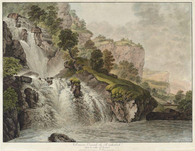 Oude tekening van de Reichenbach-waterval