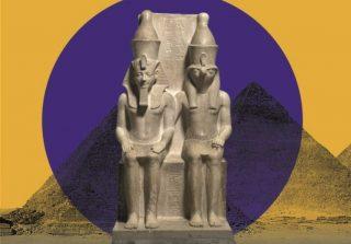 Het campagnebeeld bij de expositie Goden van Egypte' toont een farao, Horemheb, naast een god, Horus, als symbool voor de verwevenheid van de Egyptische godenwereld met het koninkrijk.
