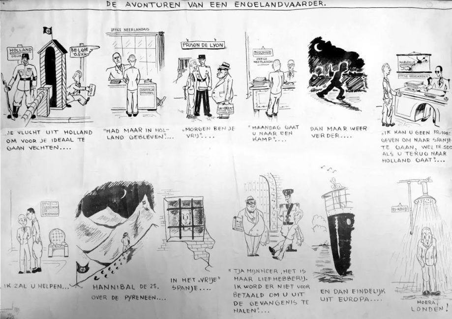 Spotprent door Max Appelboom 'De avonturen van een Engelandvaarder'. Noach is te zien op deze strip: op de bovenste rij afbeelding nr.3 en op de onderste rij afbeelding nr. 4 (Privé-collectie familie Noach)