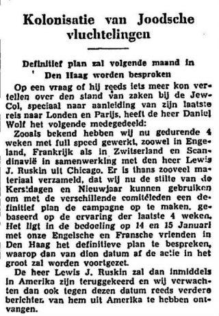 Bericht over het plan van Daniël Wolf in Het Vaderland, 23-12-1938 (Delpher)