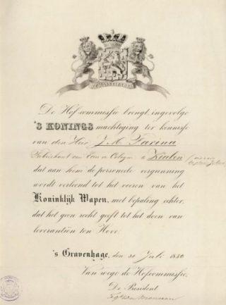 Verlening van het Predicaat aan het bedrijf Farina door koning Willem III, 1880 (Publiek Domein - wiki)