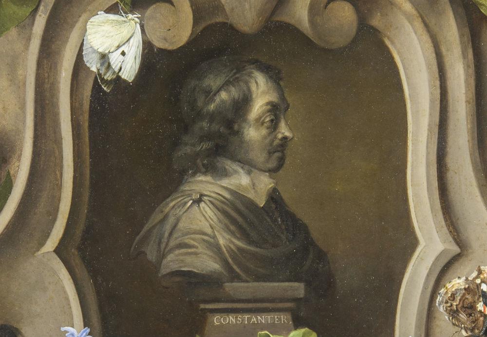 Detail - Bloemencartouche rond een buste van Constantijn Huygens (1596-1687) - (Mauritshuis - Foto Ivo Hoekstra)