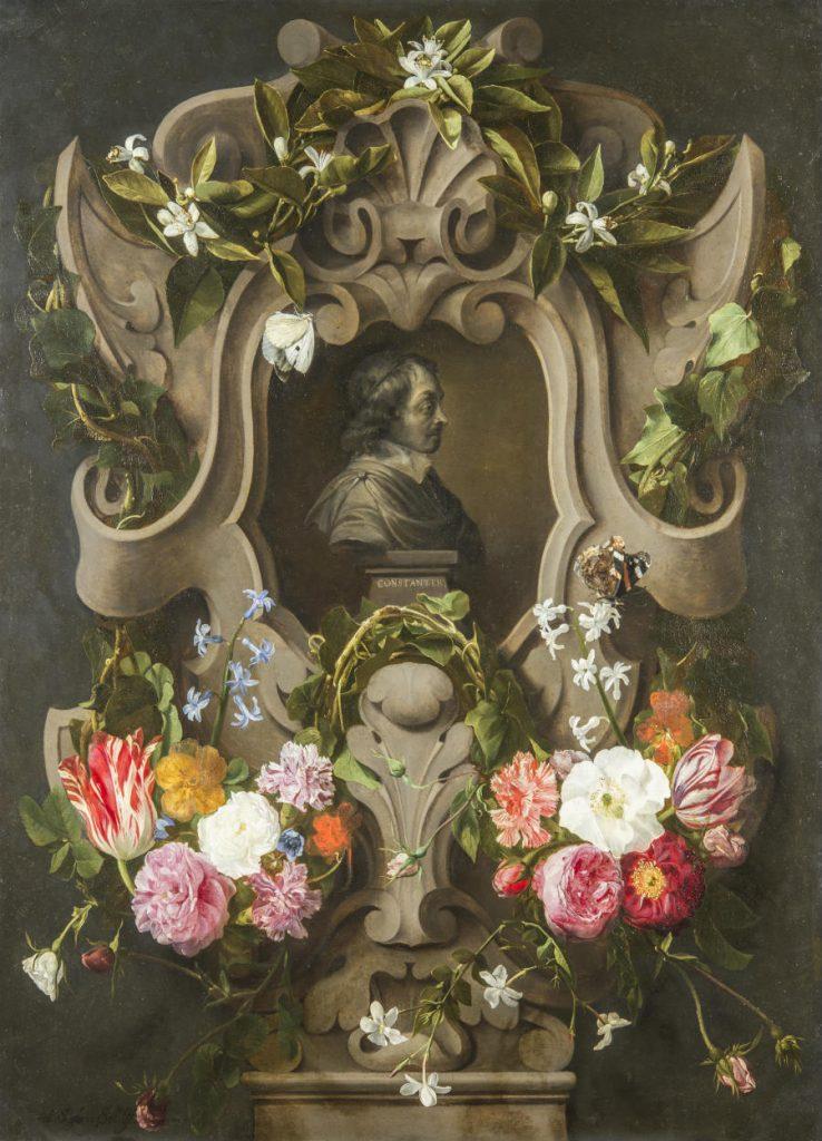 Bloemencartouche rond een buste van Constantijn Huygens (1596-1687) - (Mauritshuis - Foto Ivo Hoekstra)