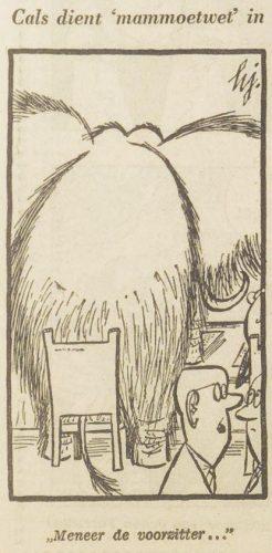 Illustratie in 'Het vrije volk' van 31 oktober 1958 over de Mammoetwet (Delpher)