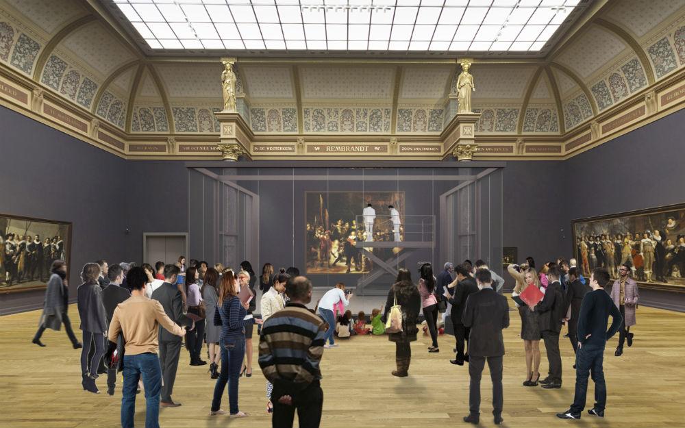 Impressie van de restauratie van De Nachtwacht - 3d tekening Wilmotte / Rijksmuseum
