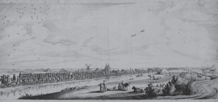 Intocht langs de Haarlemmerweg van het gevolg van Maria de' Medici op 1 september 1638. Ets door Salomon Savery en Simon de Vlieger (Stadsarchief Amsterdam, afbeeldingsbestand 010097015663). Bron: Amsterdam en de Nachtwacht.