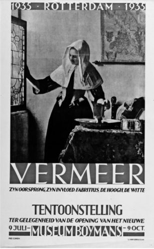 Affiche tentoonstelling Vermeer, oorsprong en invloed. Bron: Hannema, museumdirecteur.