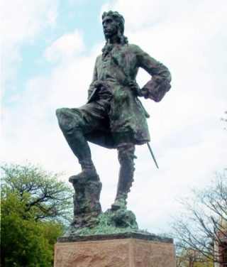 Beeld van Robert Cavelier De la Salle in Lincoln Park in Chicago (Publiek Domein - wiki)