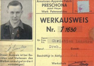 Werkausweis fabriek Preschona, d.d. 12 mei 1944