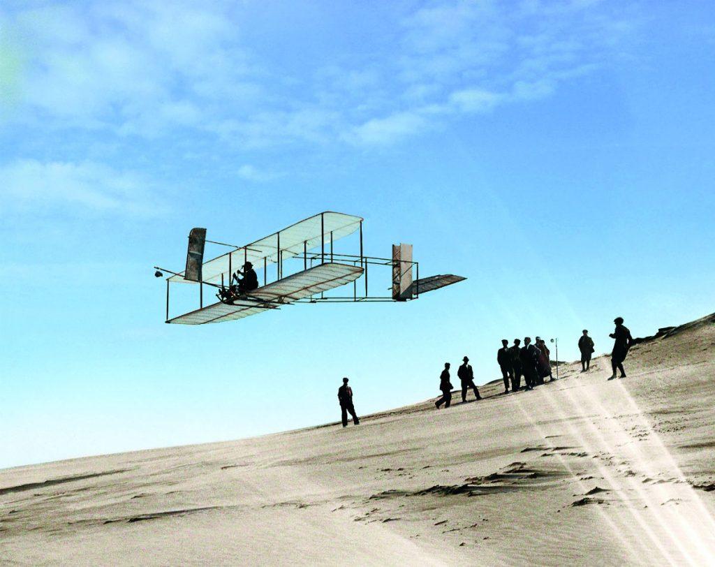 De gebroeders Wright - Foto uit: 'De tijd in kleur. Beelden uit de wereldgeschiedenis 1850 – 1960' – Dan Jones en Marina Amaral, Uitgeverij Omniboek