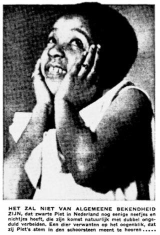 Een zwart meisje wordt een nichtje van Zwarte Piet genoemd in Algemeen Handelsblad, 25 november 1933.