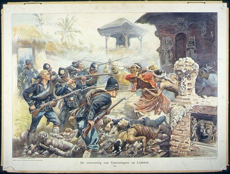Schoolplaat getiteld 'De verovering van Tjakranegara op Lombok 1894' - cc/ collectie Tropenmuseum