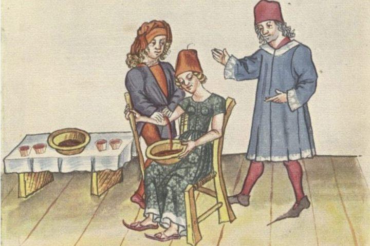 Aderlating (aderlaten) in 1471 (Publiek Domein - Hans Dirmstein - wiki)