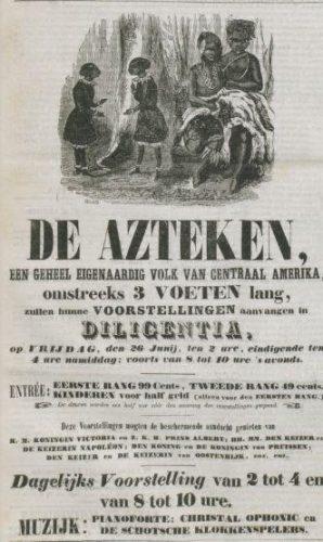 Advertentie, Dagblad van Zuidholland en 's Gravenhage 26 juni 1857. Op de voorgrond Flora en Martinus, daarachter Máximo en Bartola. | Delpher