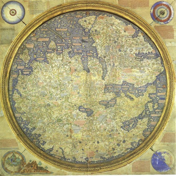 De wereldkaart van fra Mauro (het zuiden is bovenin te vinden).