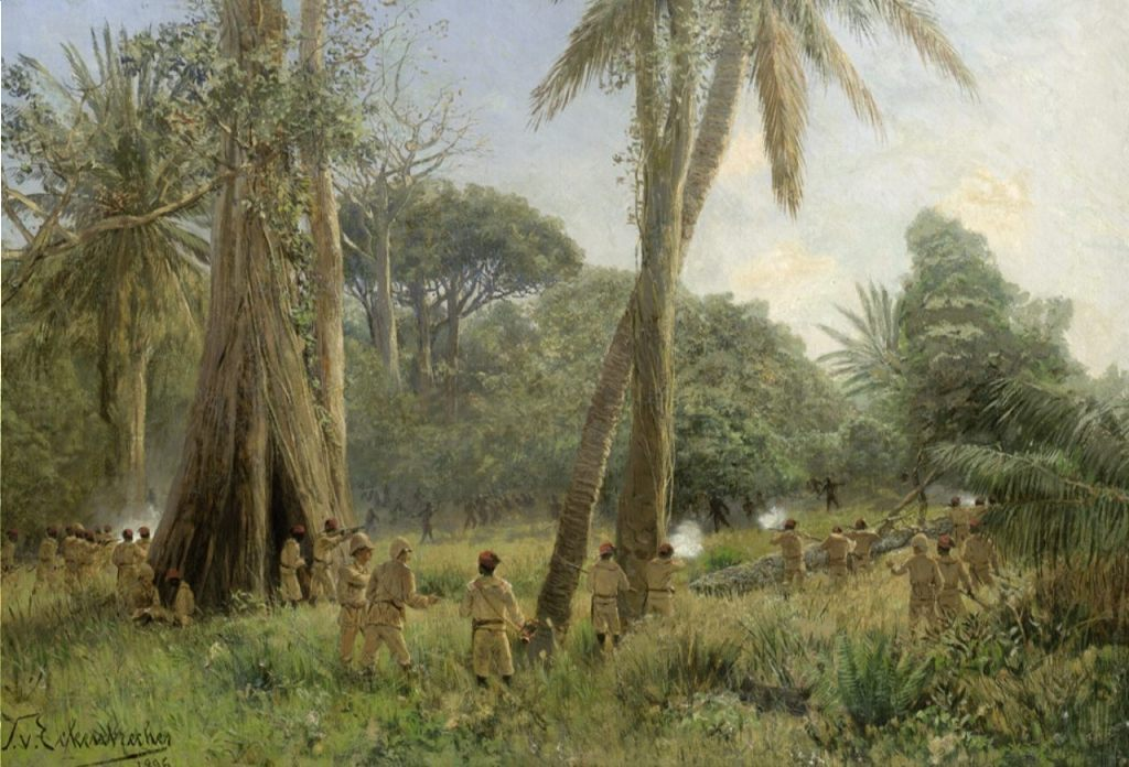 Duitse kolonisten in vuurgevecht met inheemse bewoners in Oost-Afrika (Publiek Domein - wiki)